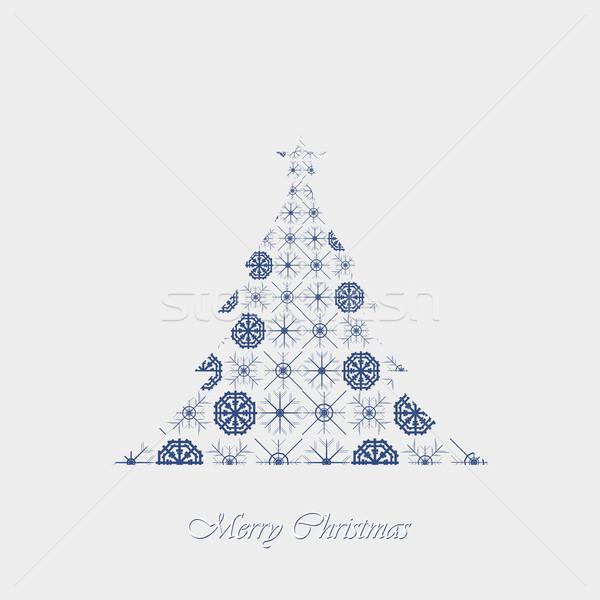Photo stock: Papier · flocons · de · neige · arbre · de · noël · pas · gradients · transparence