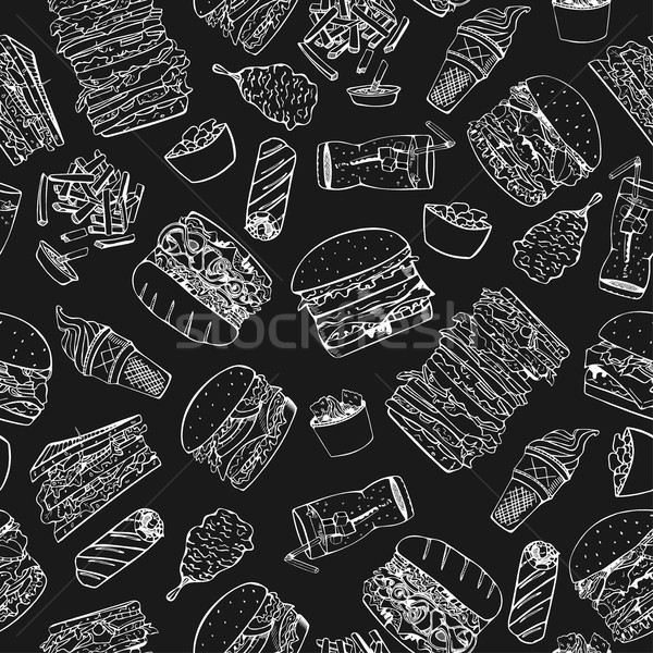 Fast food seamless pattern in doodle style. Stock photo © ExpressVectors