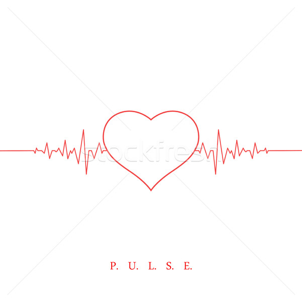 Heart beat pulse background. Valentines day Stock photo © ExpressVectors