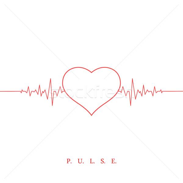 Heart beat pulse background. Valentines day Stock photo © ExpressVectors