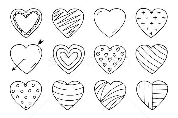 Stockfoto: Harten · collectie · doodle · stijl · gelukkig · valentijnsdag