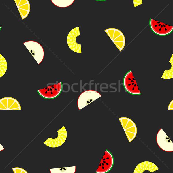 Stock fotó: Gyümölcs · végtelen · minta · vektor · darab · gyümölcsök · izolált
