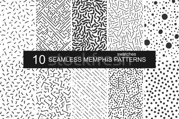 Swatches memphis patterns - seamless. Retro fashion style 80-90s. Stock photo © ExpressVectors