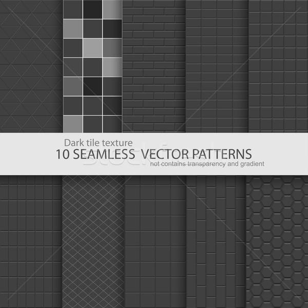 Gyűjtemény fekete csempe textúrák végtelenített sötét Stock fotó © ExpressVectors