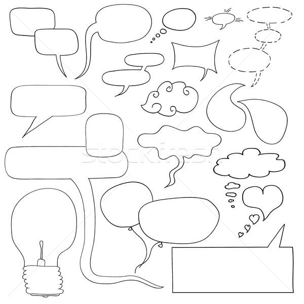 Handdrawn vector dialog windows, frames, light bulb idea. Stock photo © ExpressVectors