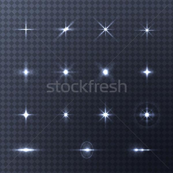 Zdjęcia stock: Kolekcja · wektora · efekty · świetlne · przezroczysty · flash · światła
