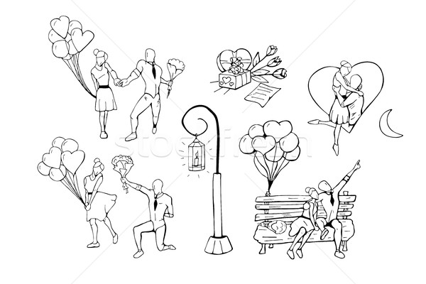 Hand drawn humans in various poses. Happy valentines day. Stock photo © ExpressVectors