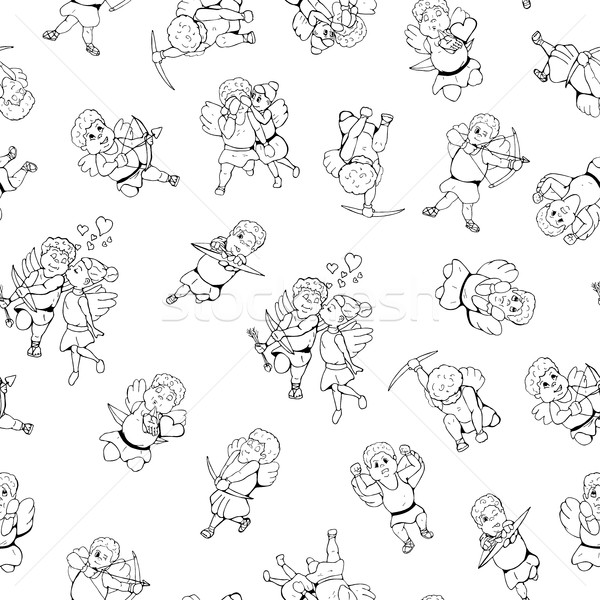 . Hand drawn cupid seamless pattern in doodle style Stock photo © ExpressVectors