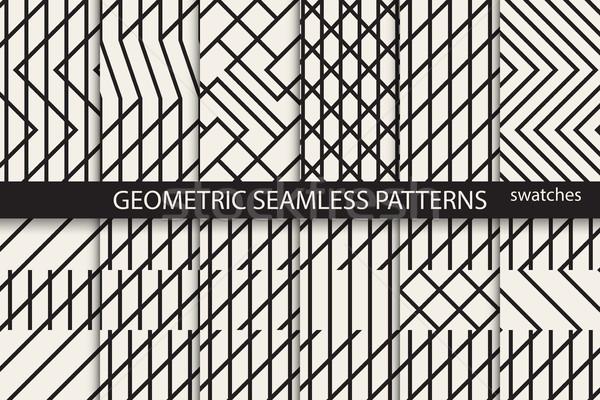 ストックフォト: コレクション · 幾何学的な · シームレス · モノクロ · 背景