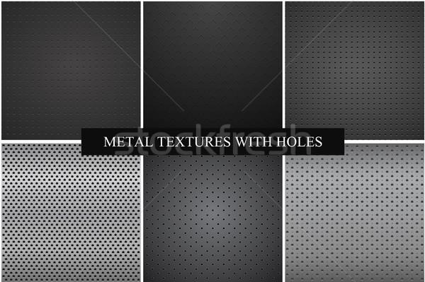 коллекция металл текстуры вектора текстуры темно Сток-фото © ExpressVectors