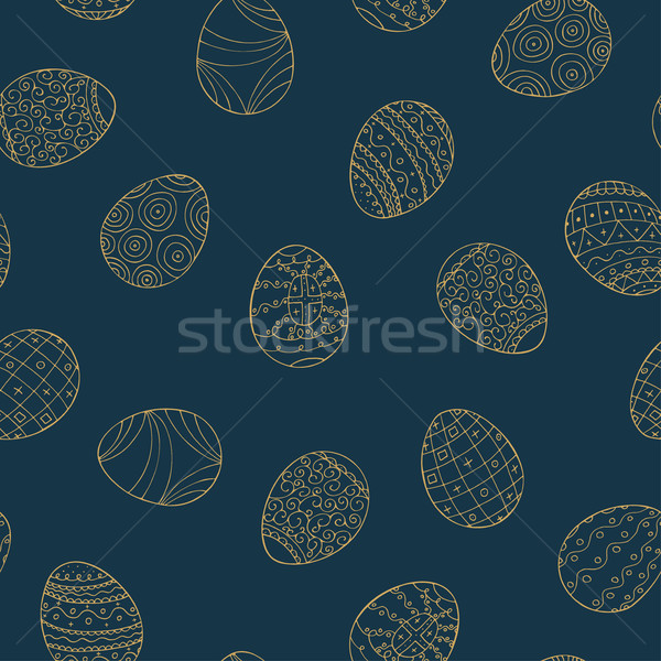 Easter eggs seamless pattern in doodle style. Stock photo © ExpressVectors