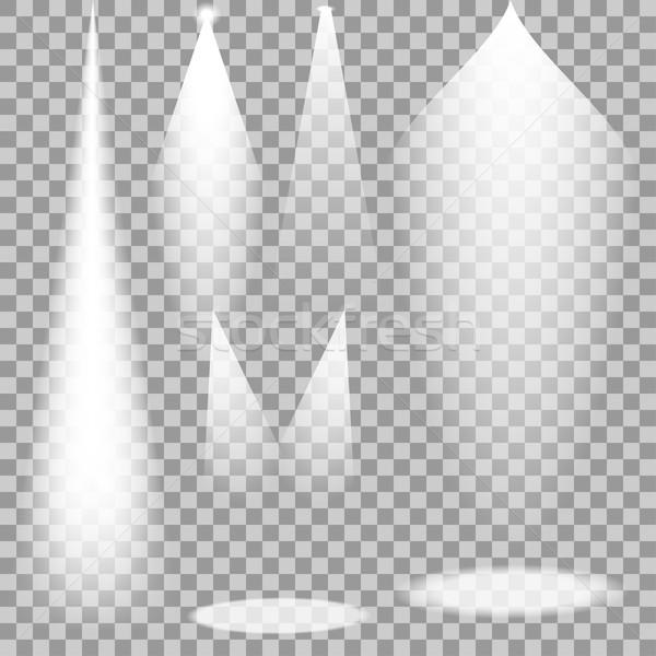 Set weiß transparent Vektor Licht Strahlen Stock foto © ExpressVectors