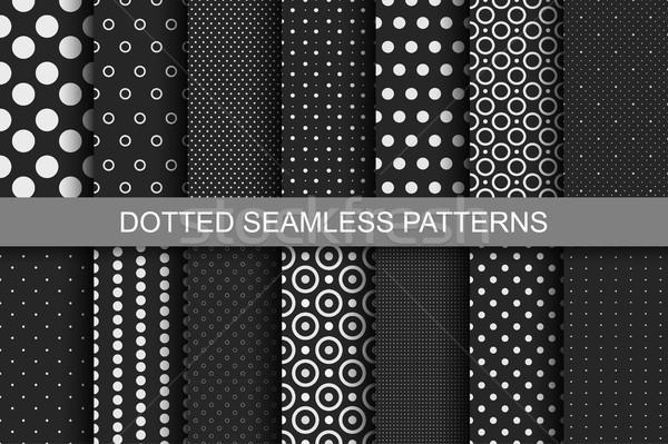 Végtelenített minták körök gyűjtemény feketefehér textúrák absztrakt Stock fotó © ExpressVectors