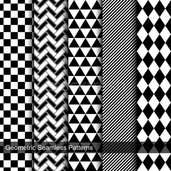 ensemble g om trique carrelage blanc noir texture illustration vectorielle. Black Bedroom Furniture Sets. Home Design Ideas