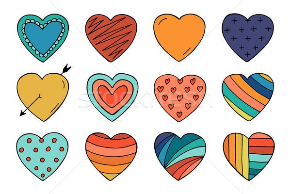 Foto stock: Colorido · corações · coleção · rabisco · estilo