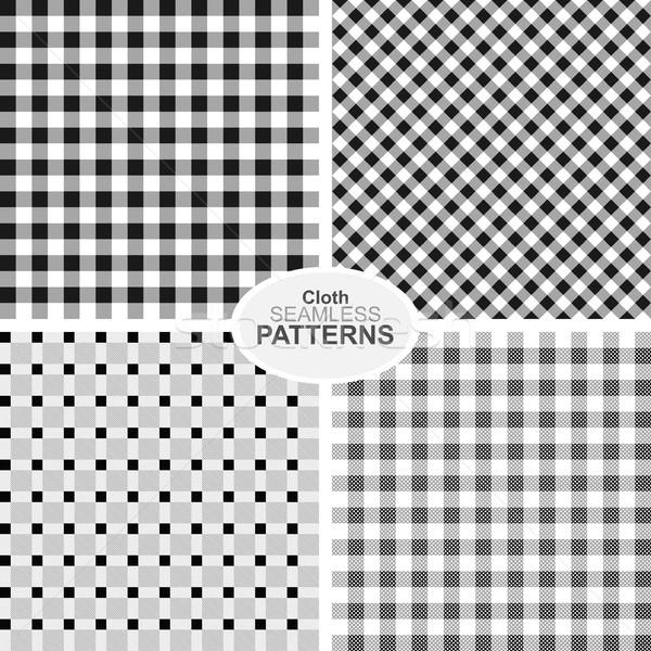 коллекция бесшовный текстильной структур черно белые фон Сток-фото © ExpressVectors
