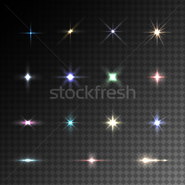 Coleção vetor colorido labareda efeitos de luz transparente Foto stock © ExpressVectors