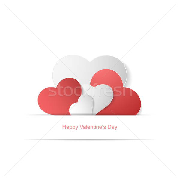 Papier coeurs heureux saint valentin carte fond Photo stock © ExpressVectors
