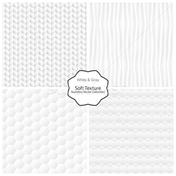 Vektor gyűjtemény végtelenített puha textúrák fehér Stock fotó © ExpressVectors
