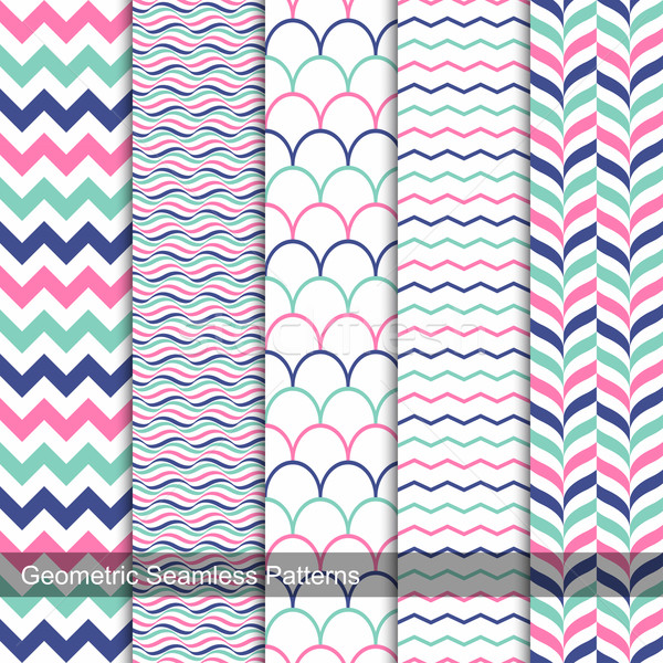 Geometric seamless patterns in memphis colors. Stock photo © ExpressVectors