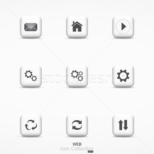 Web simgesi toplama iletişim simgeler dizayn fikirler Stok fotoğraf © ExpressVectors