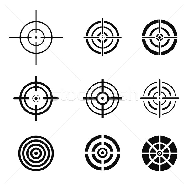 Collection of black target icons. Aim signs set. Stock photo © ExpressVectors