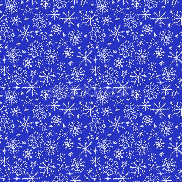 Flocons de neige doodle Noël vecteur fête Photo stock © ExpressVectors
