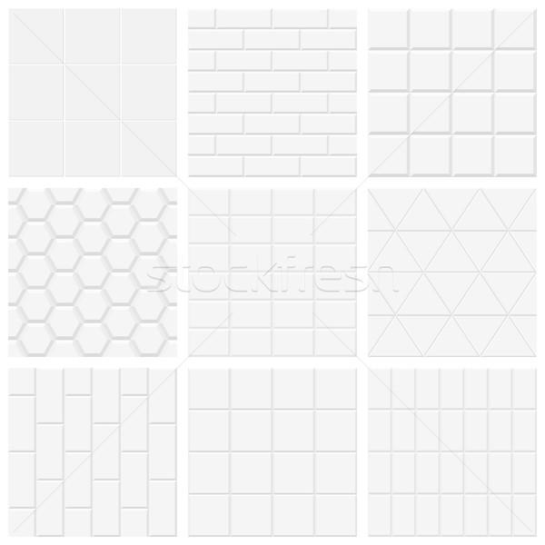Szett fehér csempézett textúra vektor hátterek Stock fotó © ExpressVectors