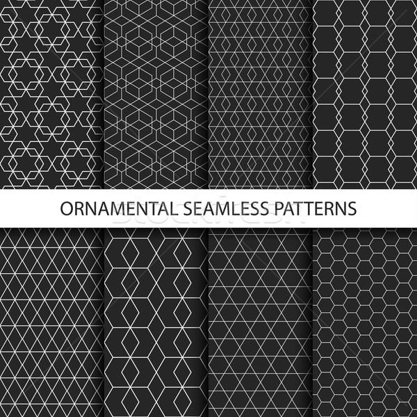 Ornamental seamless patterns - dark design. Stock photo © ExpressVectors
