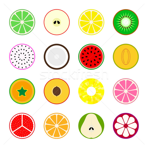 Stock photo: Collection of vector fruit icons.