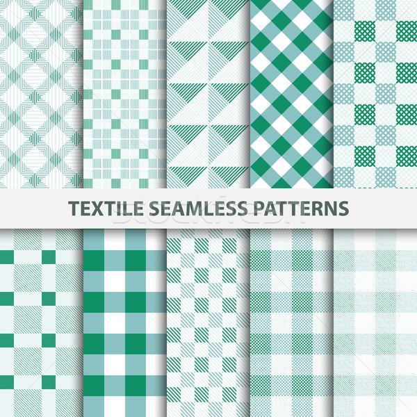 Set tessili verde bianco texture Foto d'archivio © ExpressVectors