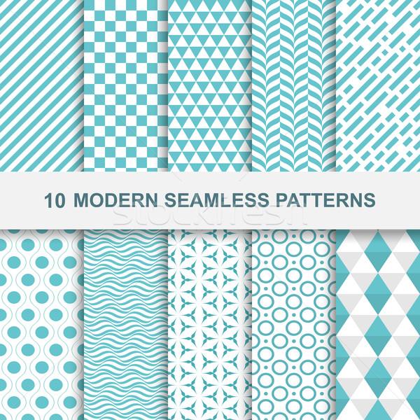 10 modernes géométrique modèles décoratif Photo stock © ExpressVectors