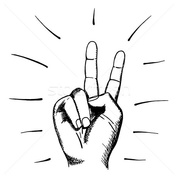 Gemalt menschlichen Hand Zeichen Frieden Hand gezeichnet Mann Stock foto © ExpressVectors