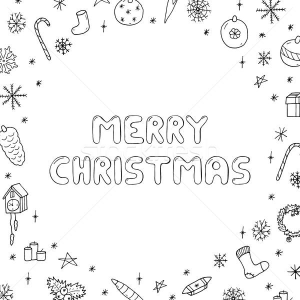 Christmas gryzmolić stylu ilustracja strony Zdjęcia stock © ExpressVectors