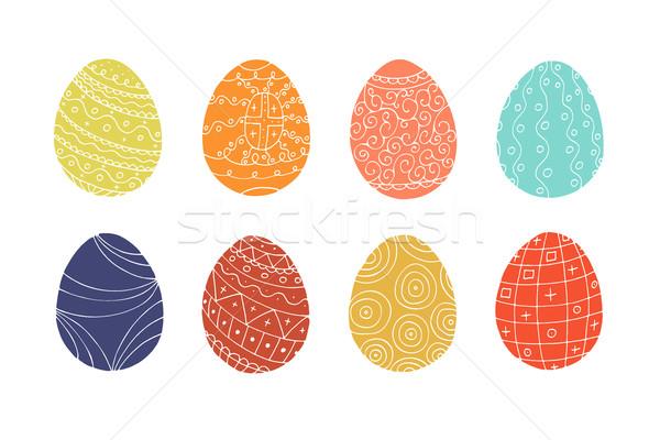 Stok fotoğraf: Renkli · paskalya · yumurtası · toplama · karalama · stil