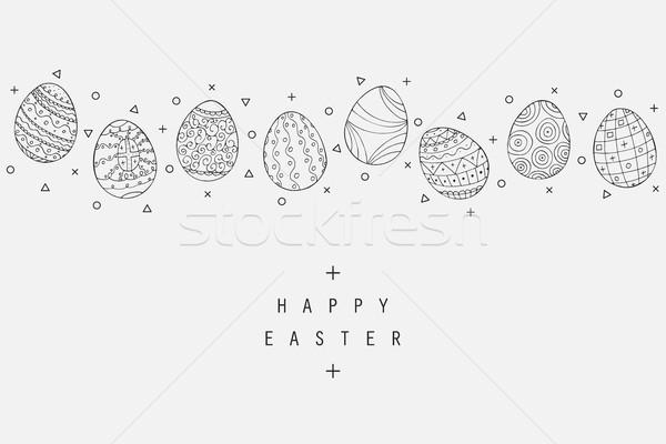 Húsvéti tojás ikonok gyűjtemény firka stílus kézzel rajzolt Stock fotó © ExpressVectors