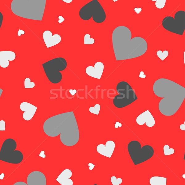 Foto stock: Sin · costura · colorido · corazones · patrón · día · resumen