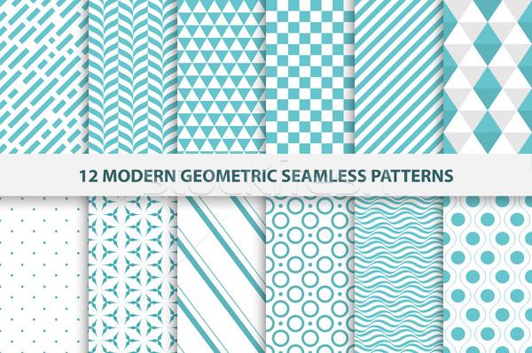 ストックフォト: コレクション · 幾何学的な · 現代 · ターコイズ · デザイン