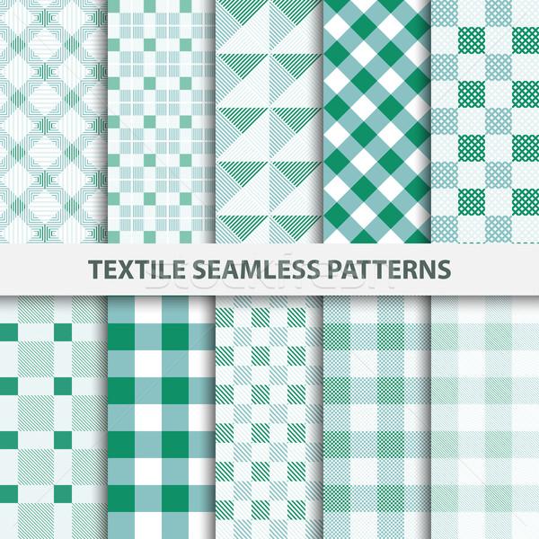 Conjunto têxtil verde branco textura Foto stock © ExpressVectors