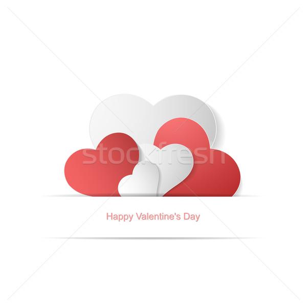 Papier coeurs heureux saint valentin vecteur peuvent Photo stock © ExpressVectors