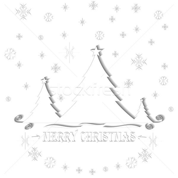 бумаги оригами рождественская елка eps10 дерево счастливым Сток-фото © ExpressVectors