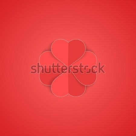 Kâğıt origami kalp mutlu sevgililer günü kırmızı Stok fotoğraf © ExpressVectors