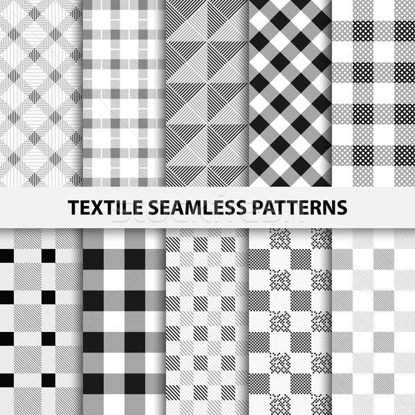 Establecer textiles blanco negro textura web Foto stock © ExpressVectors