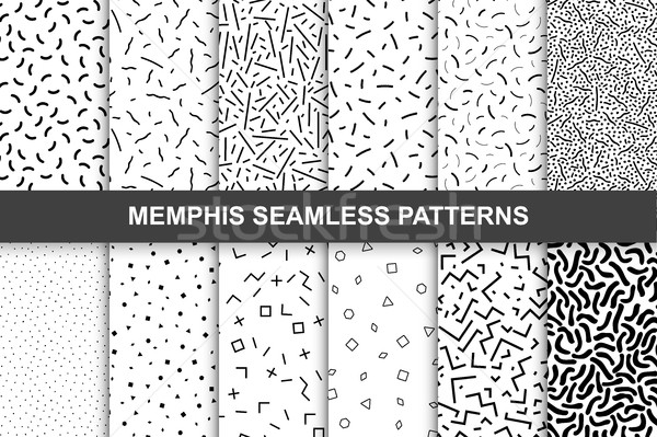 Collection of swathces memphis patterns - seamless. Stock photo © ExpressVectors