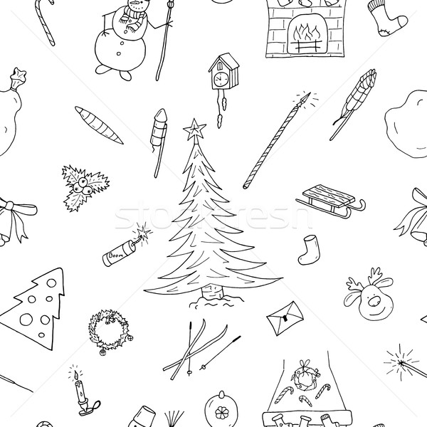 Christmas seamless pattern in doodle style.Hand drawn Stock photo © ExpressVectors