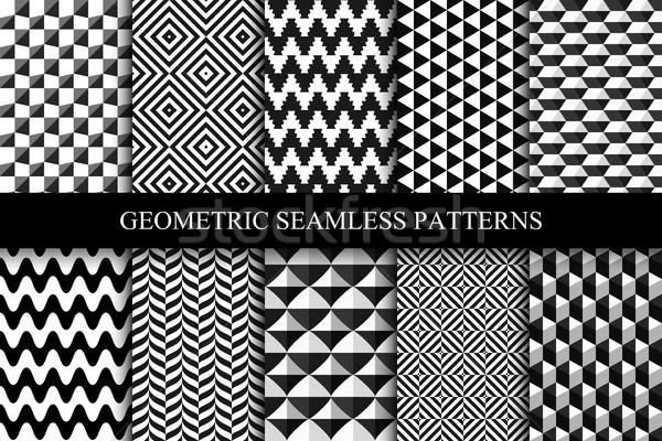 Gyűjtemény végtelenített mértani minták feketefehér absztrakt Stock fotó © ExpressVectors