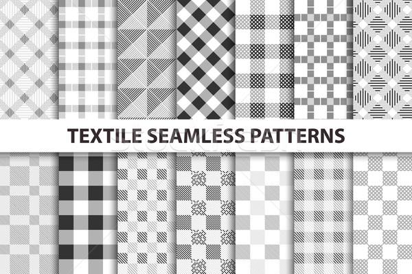 Ingesteld textiel zwart wit textuur web Stockfoto © ExpressVectors