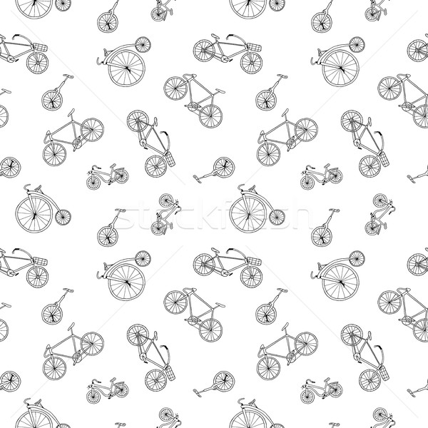 Bicycle seamless pattern in doodle style. Similar to wrapping paper. Stock photo © ExpressVectors