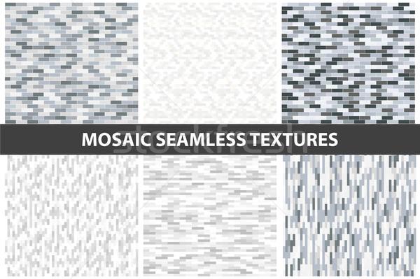 Raccolta muro di mattoni senza soluzione di continuità texture vettore in bianco e nero Foto d'archivio © ExpressVectors