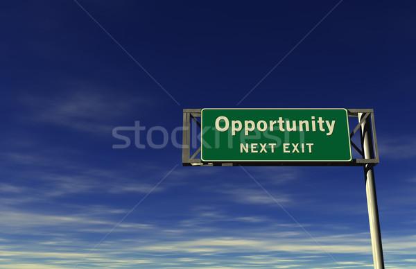 Gelegenheit Autobahn exit sign Super groß Auflösung Stock foto © eyeidea